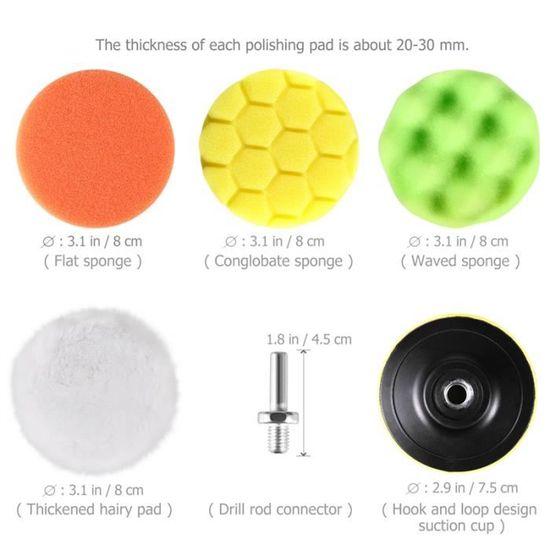 Nouveau 7 in environ 17.78 cm 180 mm éponge mousse Tampon Polissage Pad Set Voiture polisherblus