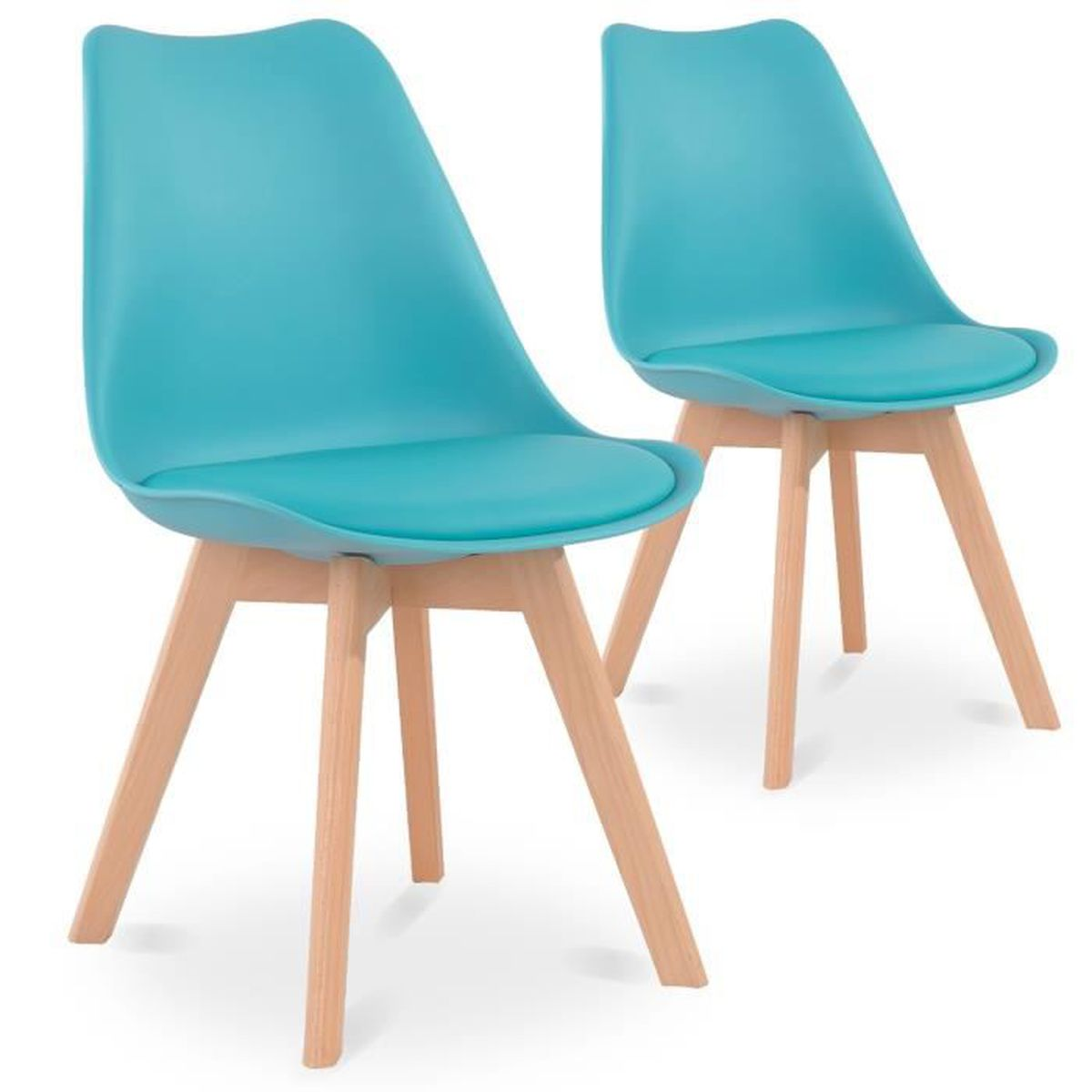 lot de 2 chaises style scandinave catherina bleu t - Chaise Scandinave Bleu