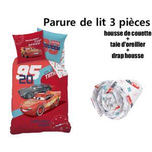 HOUSSE DE COUETTE SEULE CARS DISNEY - Pack 4 pièces parure de lit housse d