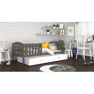 LIT COMPLET LIT ENFANT TÉO 90x190 GRIS BLANC Livré avec tiroir