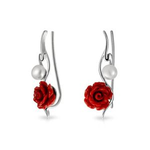 Boucle d'oreille Women's 925 Sterling Silver Red Resin Rose Freshwa