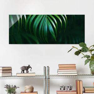 CADRE PHOTO 40x100 cm verre image - feuilles de palmier - impr