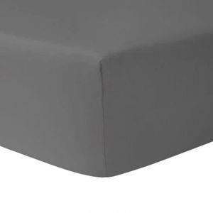 DRAP HOUSSE Drap Housse 160 x 200 - GRIS ANTHRACITE 100% coton