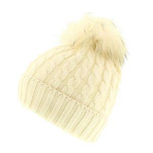 BONNET - CAGOULE Toronto - Blanc - Bonnet pompon fourrure - votrech