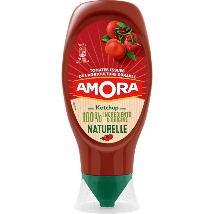 AMORA Ketchup Ingrédients d'Origine Naturelle Flacon Souple - 469 g