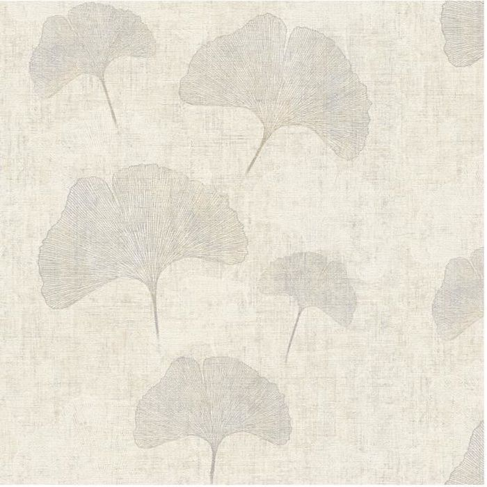 Papier peint vinyle sur intissé - Botanique - Feuille Ginkgo beige argenté