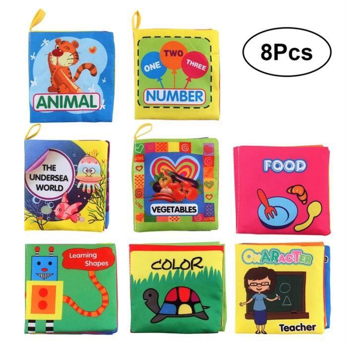 Livres en tissu doux pour bébé Livre en premier lit en tissu non toxique Livre d'apprentissage précoce de jouets éducatifs