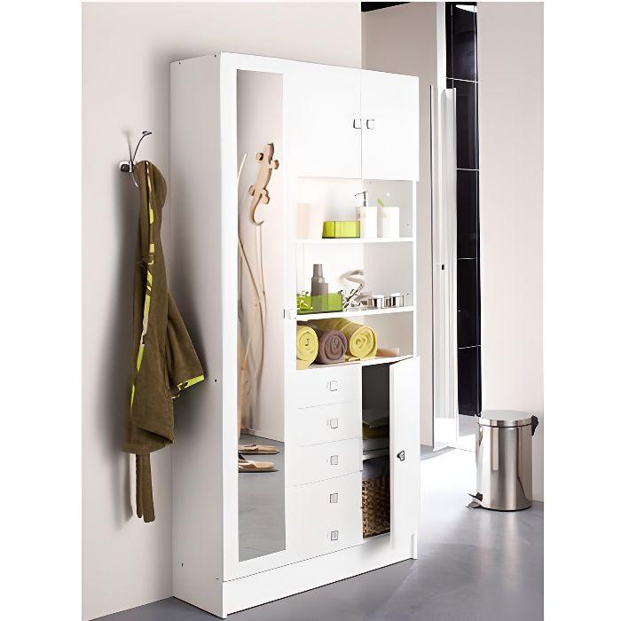 Armoire de salle de bains Variety, 9 tablettes, 5 tiroirs, 4 tablettes, 1 miroir, panneaux de particules avec finition blanche.