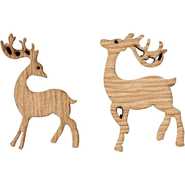 Découpe laser de rennes en bois de placage. Set de 2 designs. réf 50067
