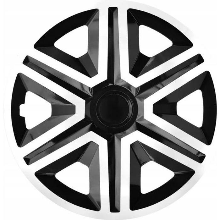 Enjoliveurs 15 pouces NRM ACTION noir blanc 4 pièces