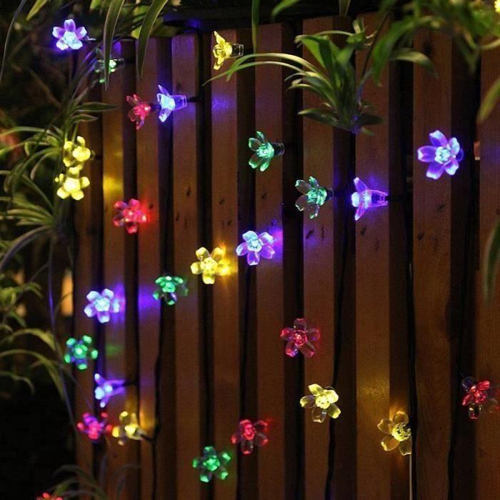 50 LED Guirlande Lumineuse à Energie Solaire de Plein air 7 mètres en forme de fleurs Lumières de banquet Lampes solaires de Gr29147