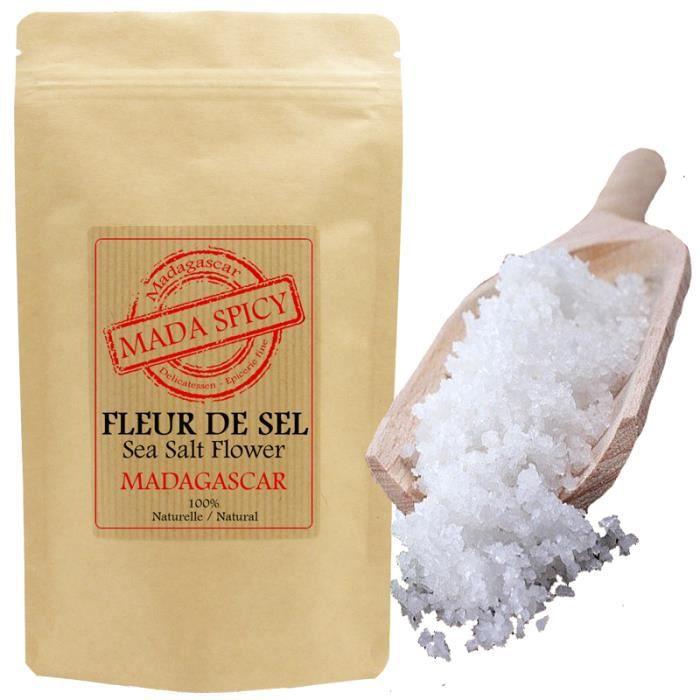 Fleur de sel de Madagascar 500gr en sachet éco alimentaire avec zip.