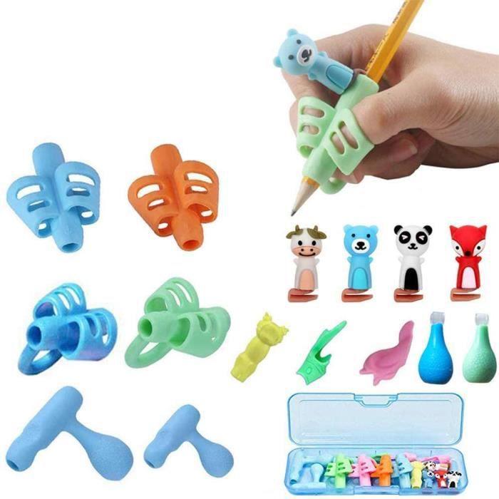 Pencil Grips,Guide Doigt Enfant, Aide écriture - Lot de 16 guide-doigts au design ergonomique Pencil Grips Pour Enfants Étudiants