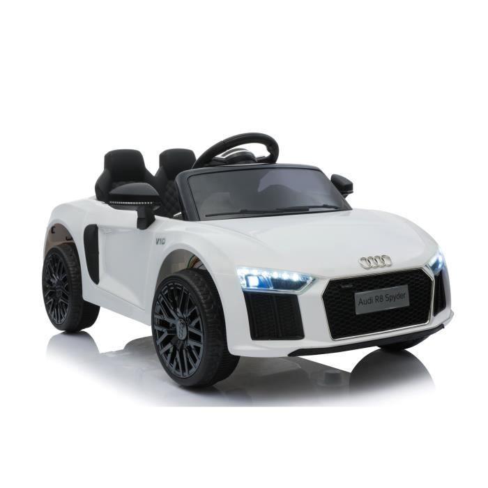 Voiture électrique Audi R8 Small, blanc, sous licence d'origine, alimenté par batterie, portes ouvrantes, moteur 2x 35 W