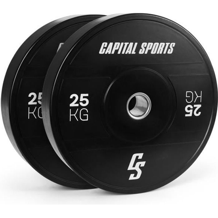 Disques de poids pour haltères - Capital Sports Elongate 2020 - bumper plates - 2 x 25 kg - caoutchouc dur - noir