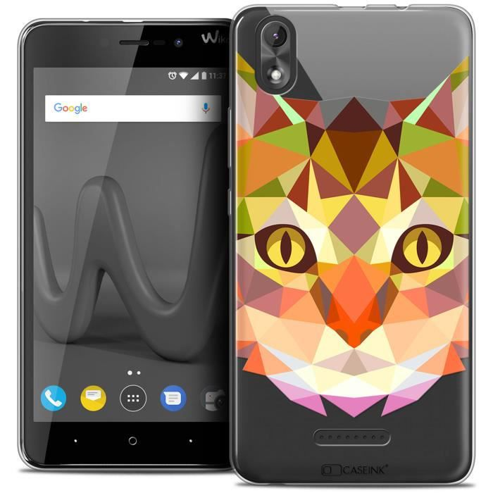 Coque Gel Wiko Lenny 4 PLUS (5.5 ) Extra Fine Polygon Animals - Chat