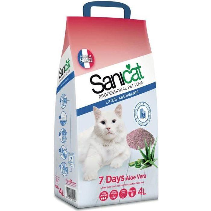 Sanicat Litière Absorbantes Minérale Pour Chats Aloé Vera 4L (lot de 4)