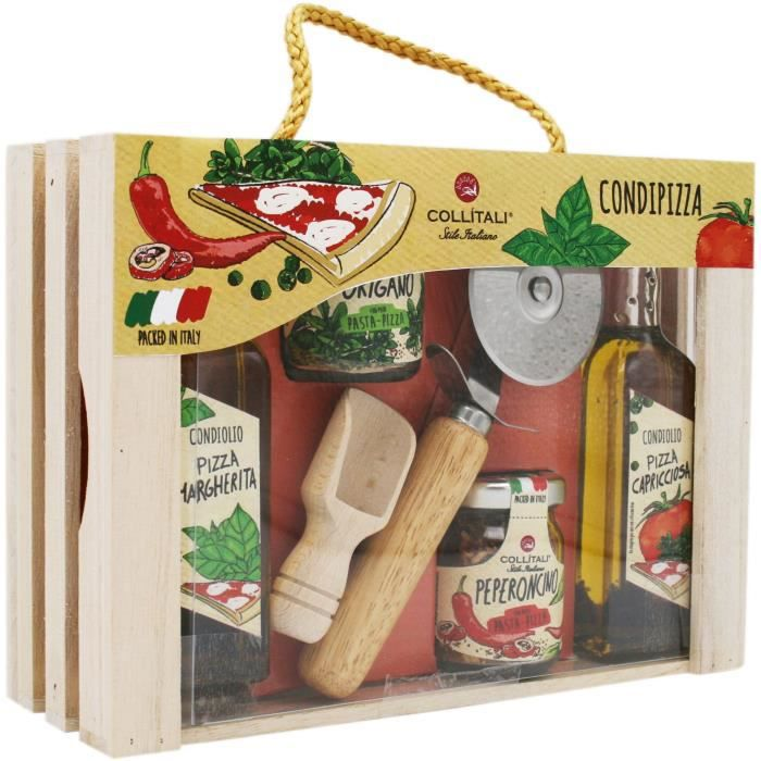 COLLITALI CAGETTE PIZZA, huile olive Capricciosa 100, huile olive Margherita 100, origan 8 g, piment 18 g, couteau, cuillère