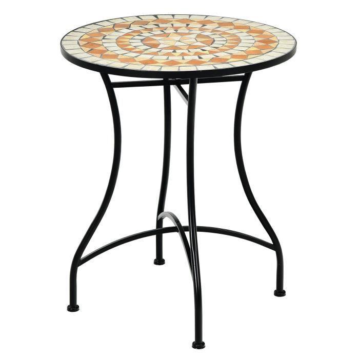 COSTWAY Table de Jardin Style Mosaïque, Cadre en Fer et Revêtement Antirouille pour 60 x 60 x 72 CM Terrasse/Salon/Balcon