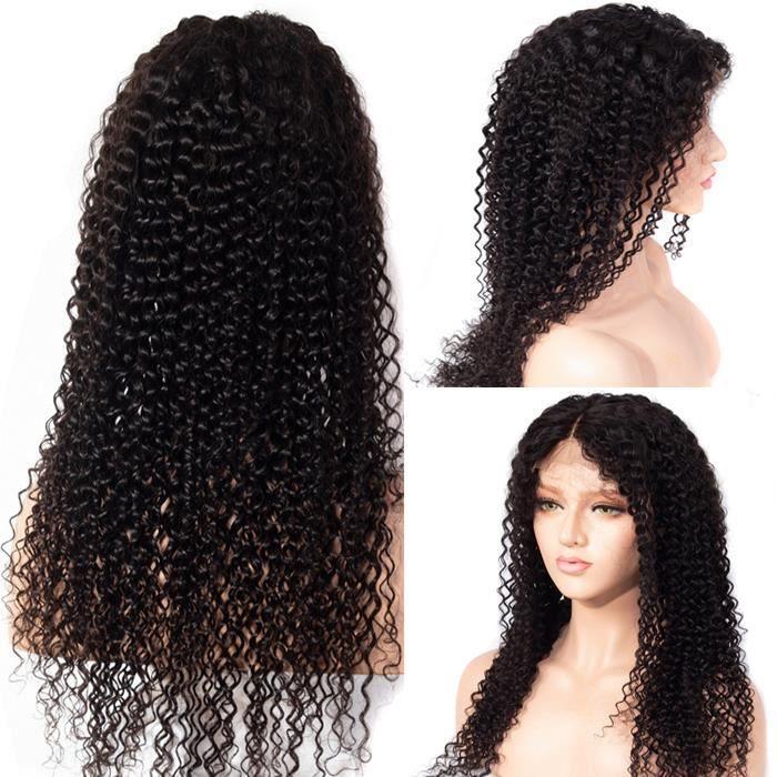 Perruques de cheveux humains péruviens 150% densité kinky curly 4*4 lace closure wig 22 Pouces(55.88cm)