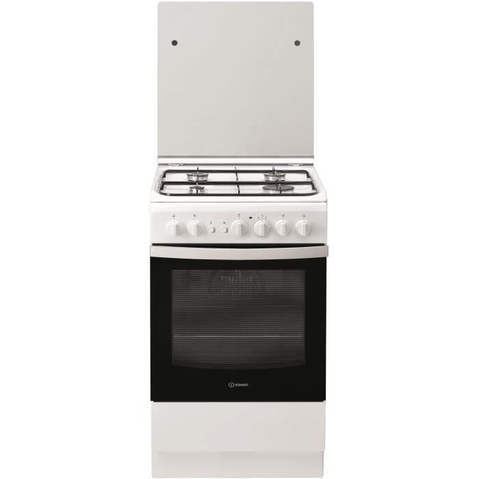 INDESIT IS5G2PCW/FR - Cuisinière table gaz - 50cm - 4 zones de cuisson - Blanc