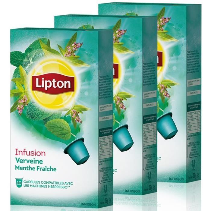 LIPTON Capsules Infusion Verveine Menthe - 3 x10 capsules