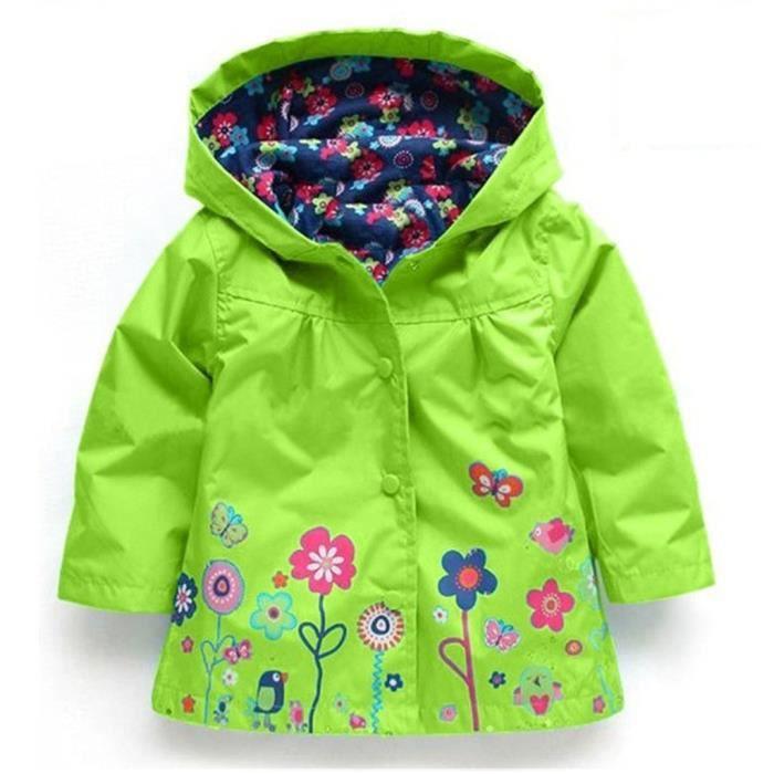 Enfant Manteau Imperméable à Capuche Fille Manteau de Pluie imperméable avec capuche