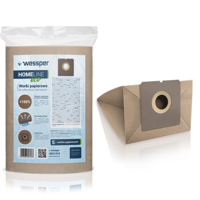 Wessper Sacs aspirateur pour Solac AB 2600, 5 pièces, papier