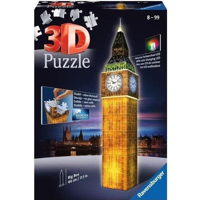 Puzzle 3D Big Ben illuminé - Ravensburger - Monument 216 pièces - sans colle - avec LEDS couleur - Dès 8 ans