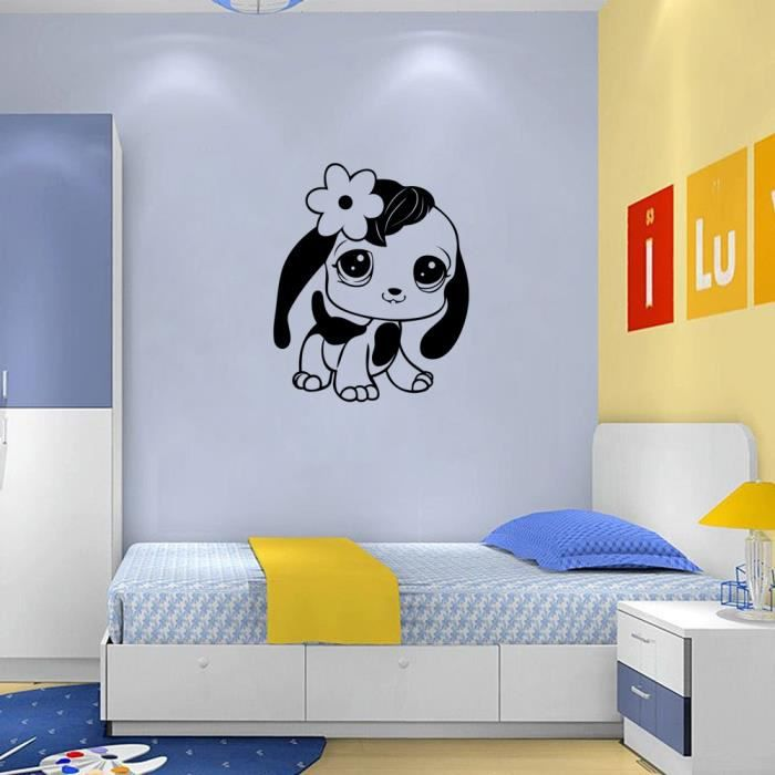 noir cr ative chien stickers muraux pour chambre d 39 enfant d coration la maison b b fond d. Black Bedroom Furniture Sets. Home Design Ideas