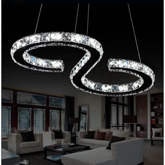 24w led lustre moderne en cristal led cristal lustre blanc. Black Bedroom Furniture Sets. Home Design Ideas