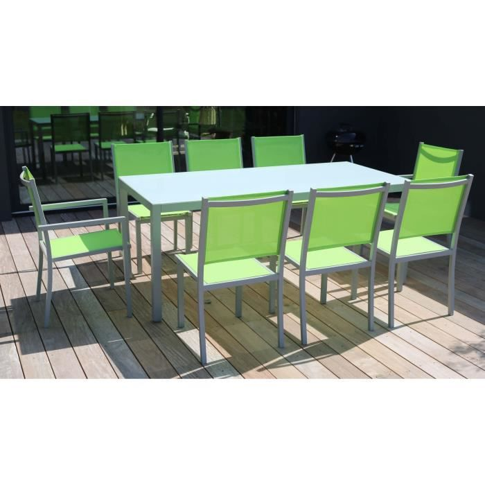 table de jardin en aluminium et verre 8 places achat vente salon de jardin table de jardin 8. Black Bedroom Furniture Sets. Home Design Ideas
