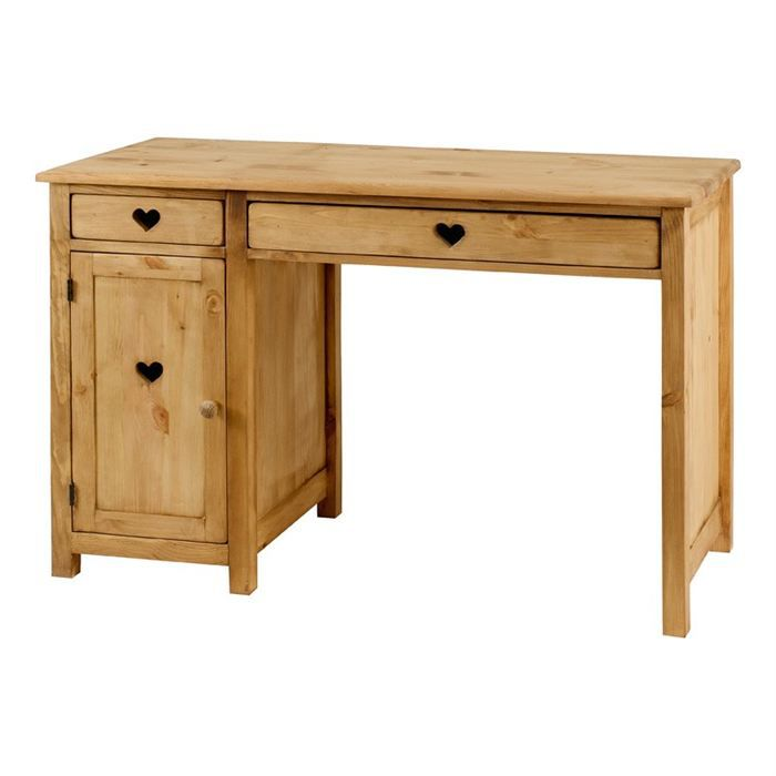 bureau rustique avec coeur 2 tiroirs 1 porte achat. Black Bedroom Furniture Sets. Home Design Ideas
