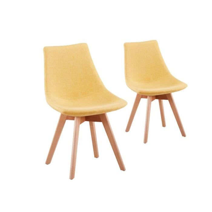 Chaise Jaune Moutarde #15: 2 Chaises Scandinave LOA - Couleur - Moutarde
