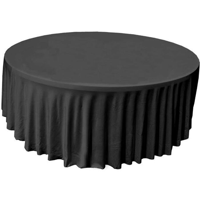 nappe housse lastique pour table ronde 150cm noire achat vente nappe de table cdiscount. Black Bedroom Furniture Sets. Home Design Ideas