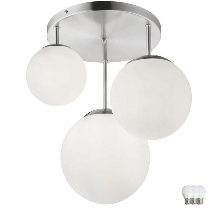 Moderne Lampe de table type LED bille argenté hauteur 27,5 cm
