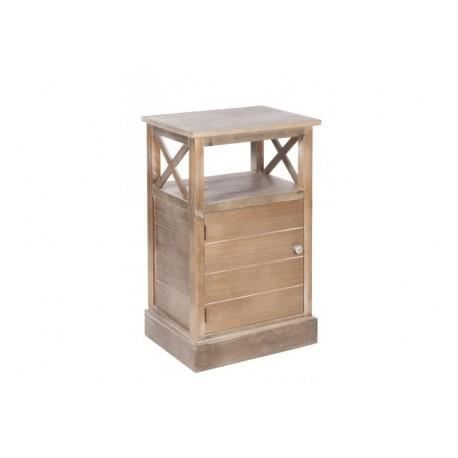 table de nuit 1 porte croix bois naturel 45x34x72cm jolipa achat vente chevet table de nuit. Black Bedroom Furniture Sets. Home Design Ideas