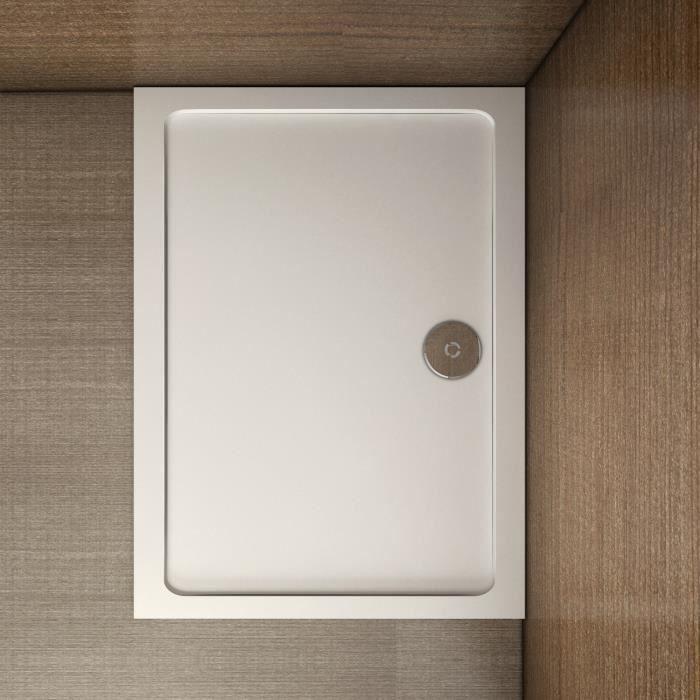 bac /à douche blanc acrilique Receveur de douche plat 100 x 80 cm // /épaisseur 50 mm BuyLando salle de bain.