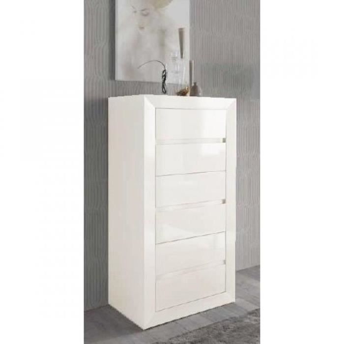 chiffonier malaga 6 tiroirs finition laqu blanc achat vente chiffonnier semainier. Black Bedroom Furniture Sets. Home Design Ideas