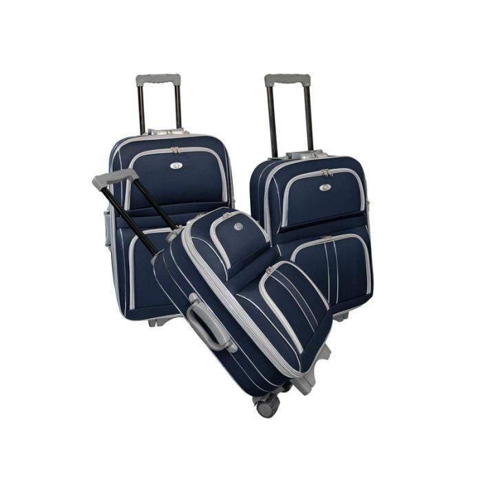 bagage kinston lot de 3 valise 2 roues tissu bleu bleu achat vente set de valises. Black Bedroom Furniture Sets. Home Design Ideas