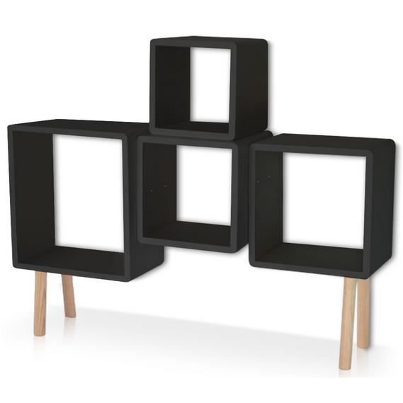 etag res sur pieds cube noir achat vente etag re. Black Bedroom Furniture Sets. Home Design Ideas
