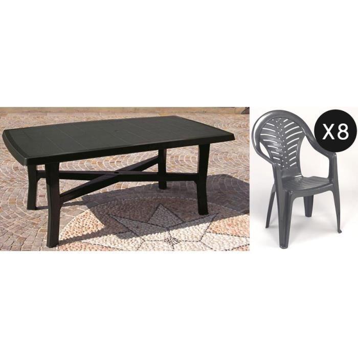 Table SENNA 180cm + 8 chaises en plastique gris - Achat ...