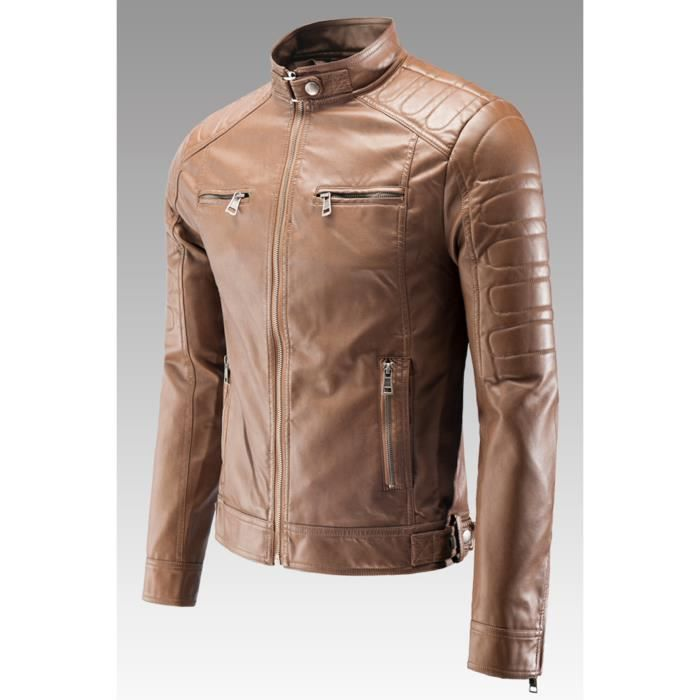 veste homme mentex style motard simili cuir camel beige achat vente veste cdiscount. Black Bedroom Furniture Sets. Home Design Ideas