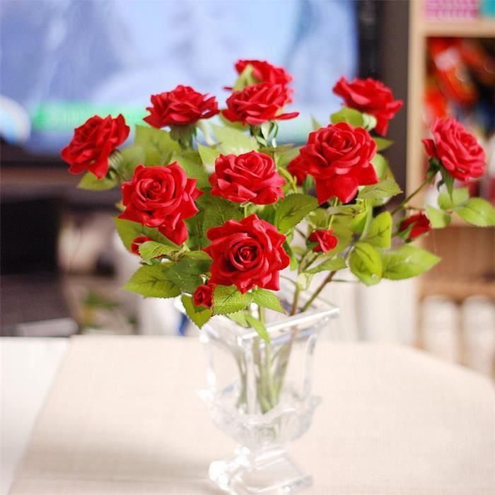 10 20 50 Pieces Tres Belles Bonnes Qualites Fleurs Artificielles Rouge Fousse Rose Pour Maison Decoration Achat Vente Fleur Artificielle Cdiscount