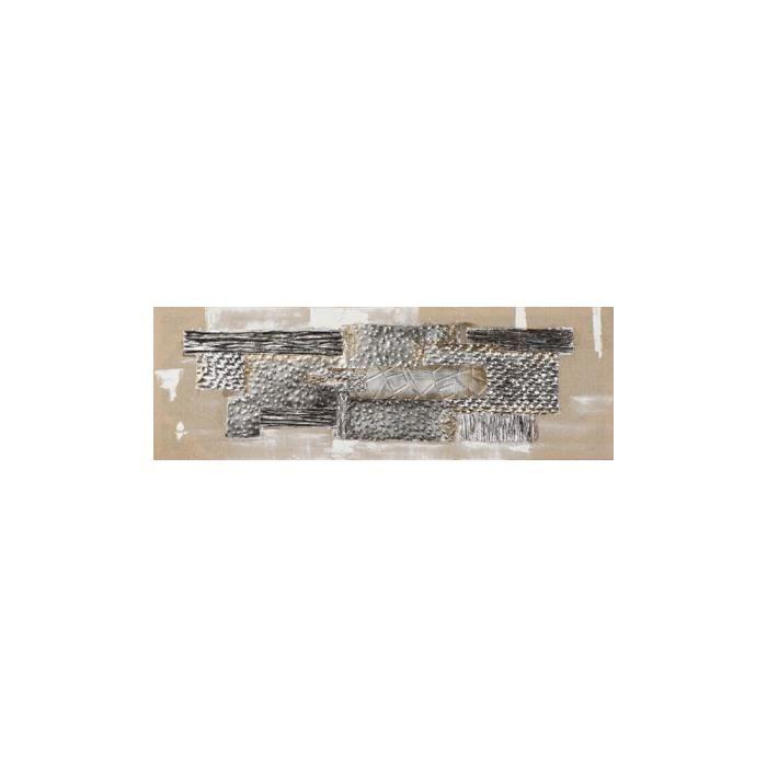 Tableau Abstrait Tons Blancs Beiges Dores Et Argentes 120x40cm Modele 1 Achat Vente Tableau Toile Cdiscount