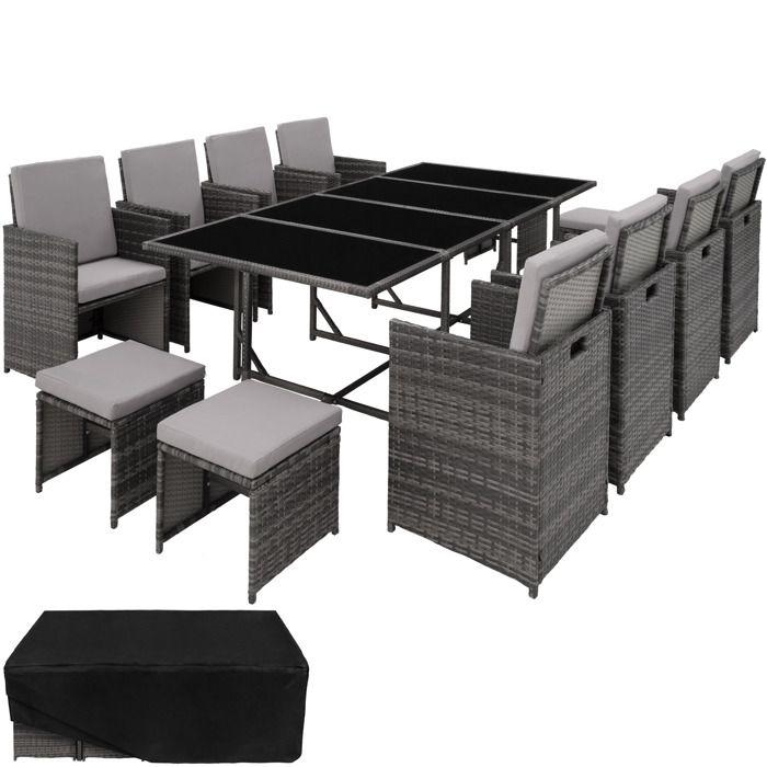 Table de jardin en resine tressee avec chaise gris
