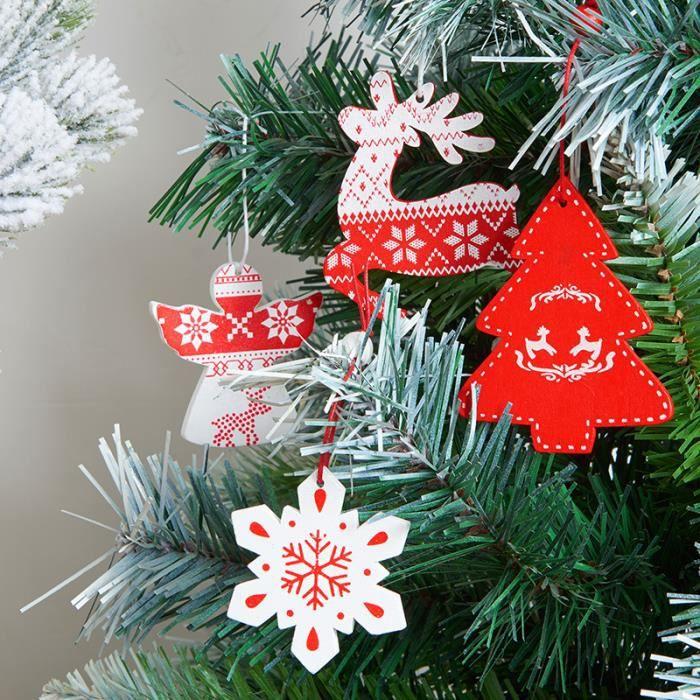 100pcs Bois Noël Pendentif Sapin de Noël arbre de Noël Bijoux Décoration De