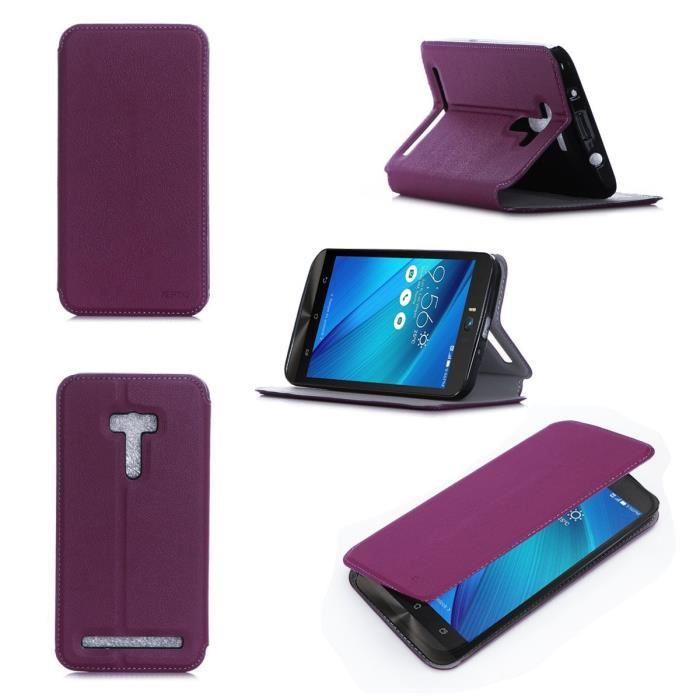 etui coque asus zenfone 2 selfie zd551kl 5 5 pouces violet housse pochette achat coque. Black Bedroom Furniture Sets. Home Design Ideas