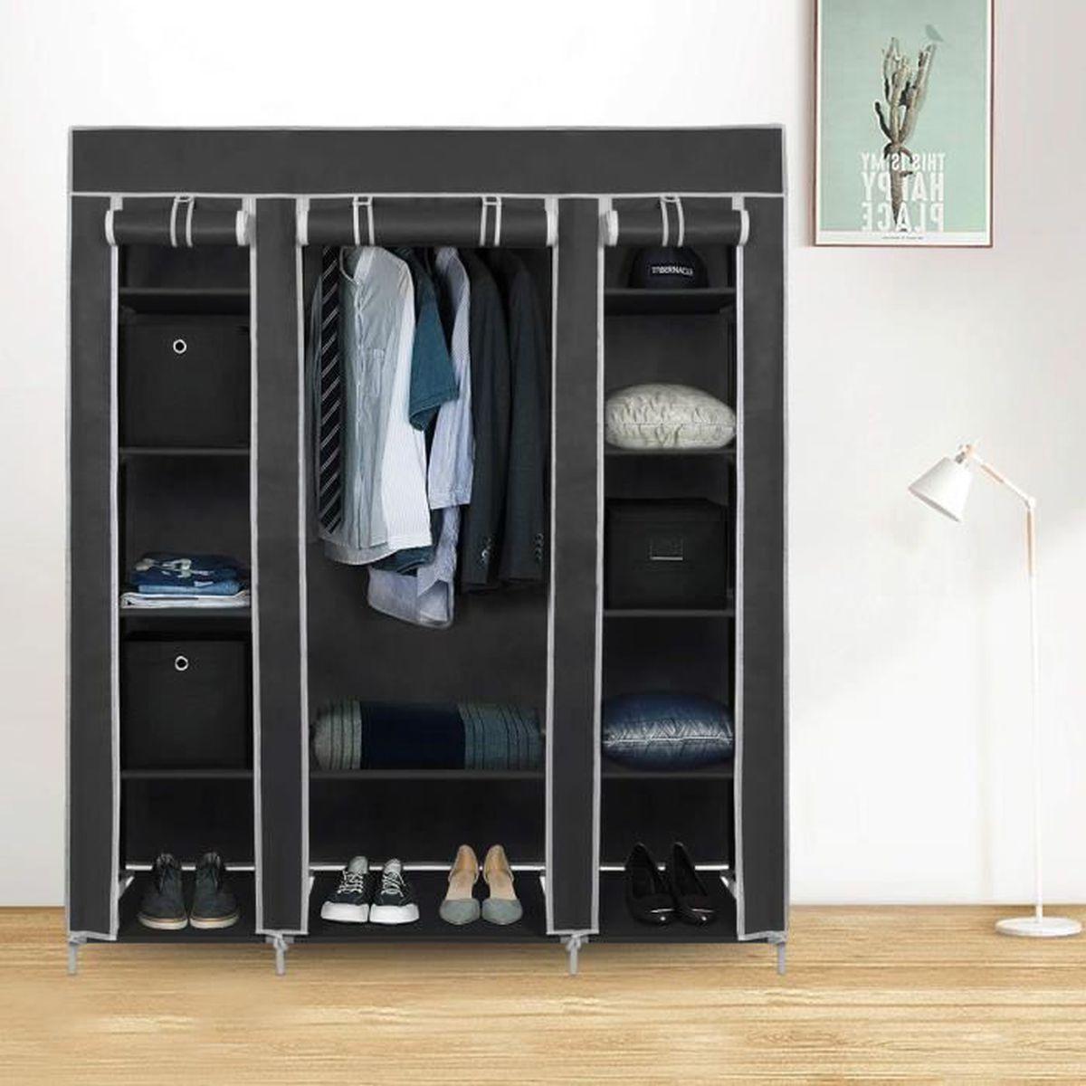 Tringle D Angle Dressing armoire en tissu penderie de vêtement en toile mobilier de chambre  rangement de vêtements unique tringles à vêtements 150 * 45 * 175