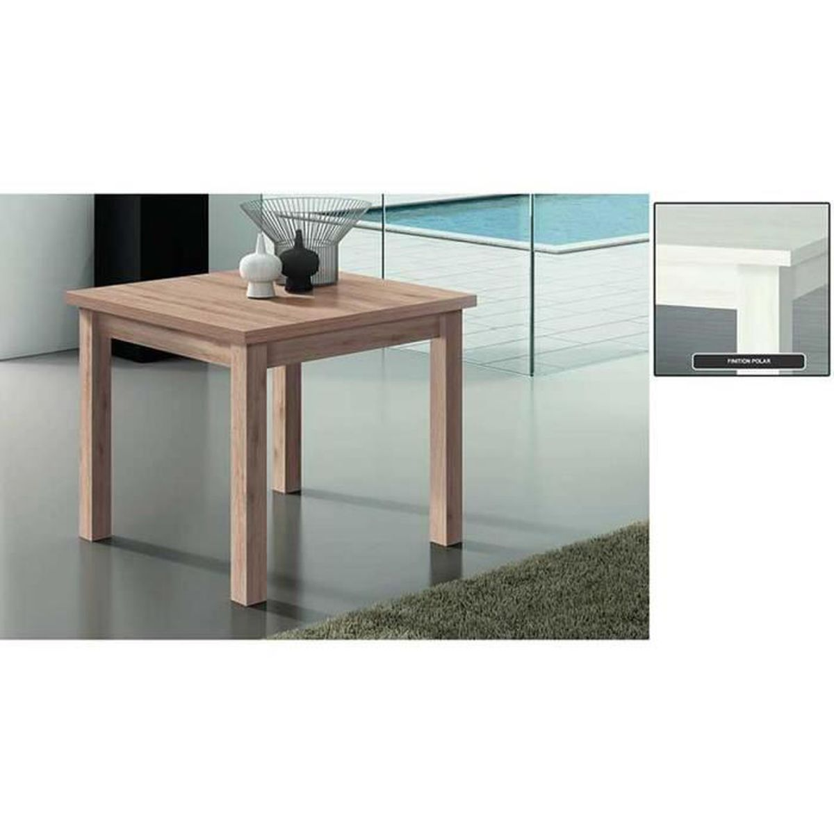Table a manger carr e extensible 90 180 syst portefeuille for Table a manger carre extensible